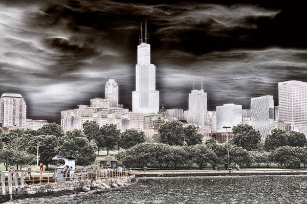 Cloud Cover Mixed Media - Before The Spring Storm Chicago Sears Willis Tower Textured by Thomas Woolworth