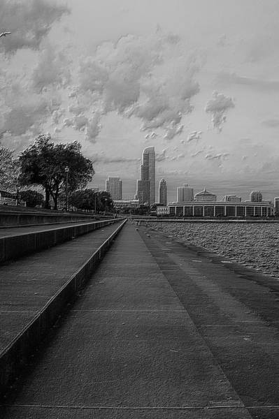 Cloud Cover Mixed Media - Before The Spring Storm Chicago Shedd Aquarium Eastside Bw Vertical by Thomas Woolworth