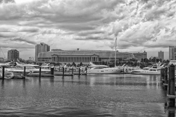 Cloud Cover Mixed Media - Before The Spring Storm Chicago Soldier Field Bw by Thomas Woolworth