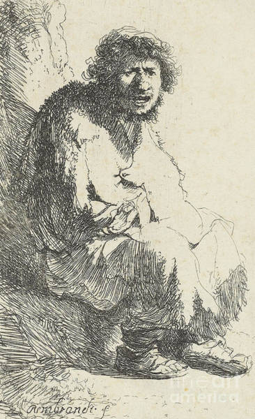 Wall Art - Drawing - Beggar Seated On A Bank by Rembrandt Harmensz van Rijn
