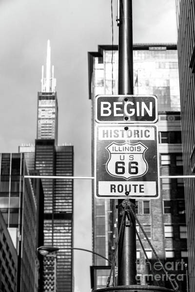 Wall Art - Photograph - Begin Route 66 Chicago by John Rizzuto