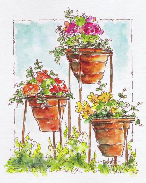 Painting - Begonia Triplets by Pat Katz