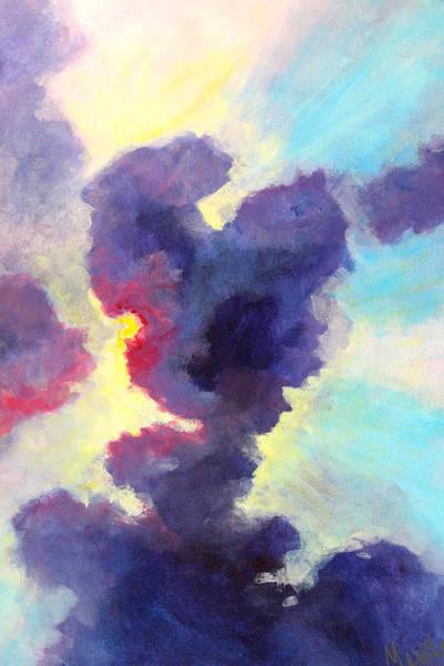 Wall Art - Painting - Behind The Clouds by Nancy Merkle