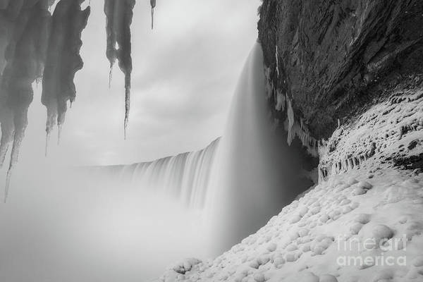 Photograph - Behind The Falls  Bw by Michael Ver Sprill