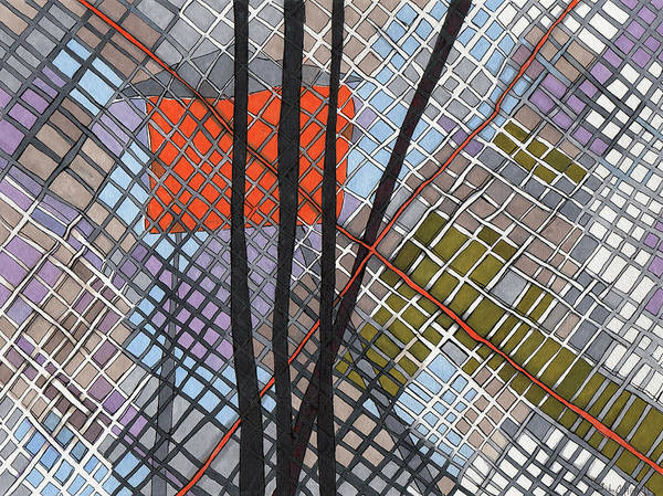 Semi Abstract Drawing - Behind The Fence by Sandra Church