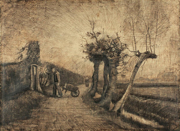 Half Timbered Painting - Behind The Hedges, 1884 by Vincent Van Gogh