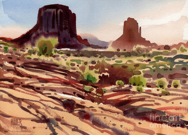 Butte Painting - Behind The Mittens by Donald Maier