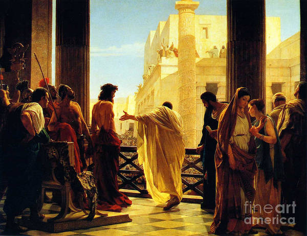 Antonio Ciseri Painting - Behold The Man by Celestial Images