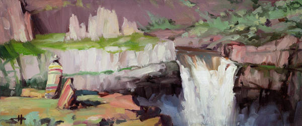 Brush Strokes Wall Art - Painting - Beholding Palouse Falls by Steve Henderson