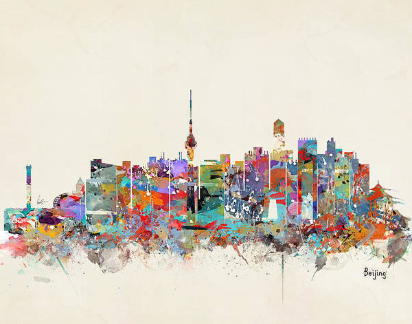 Chinese Painting - Beijing China Skyline by Bri Buckley