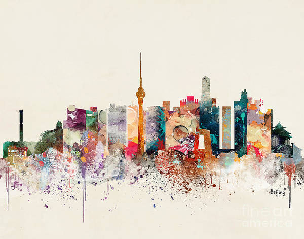Chinese Painting - Beijing Skyline by Bri Buckley