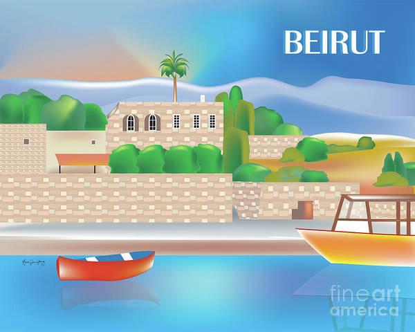 Wall Art - Digital Art - Beirut Lebanon Horizontal Scene by Karen Young