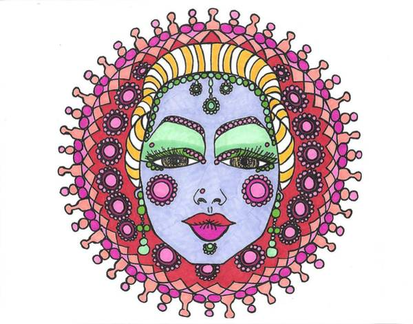 Drawing - Bejeweled Blond by Roberta Dunn
