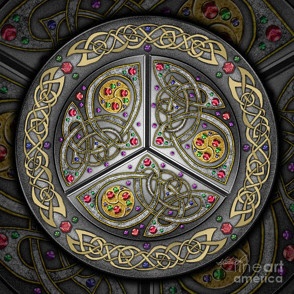 Celtics Mixed Media - Bejeweled Celtic Shield by Kristen Fox