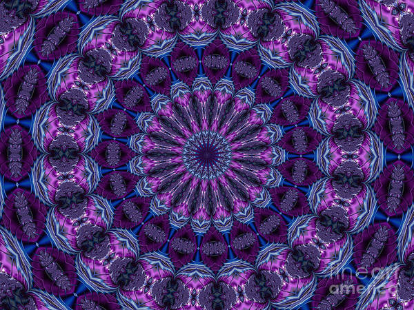 Digital Art - Bejeweled Purple Fuchsia And Blue Fractal Mandala Kaleidoscope Abstract by Rose Santuci-Sofranko