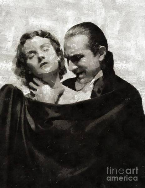 Dracula Painting - Bela Lugosi And Helen Chandler, Dracula by Mary Bassett