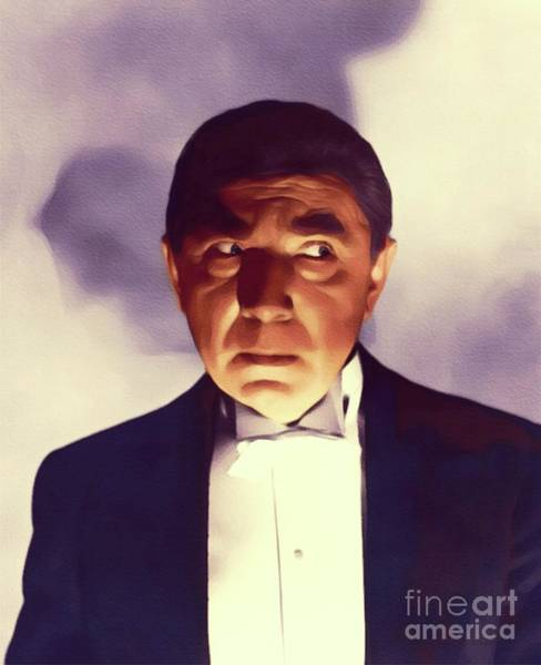 Horror Film Painting - Bela Lugosi, Vintage Hollywood Actor by John Springfield