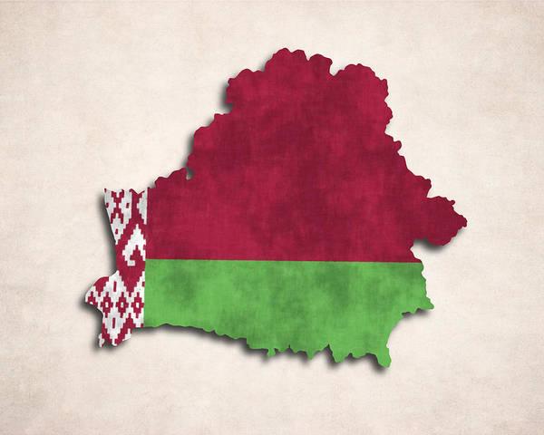 Eastern Europe Digital Art - Belarus Map Art With Flag Design by World Art Prints And Designs