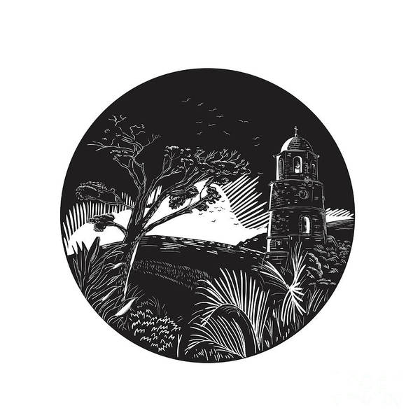 Wall Art - Digital Art - Belfry Tower On Hill Trees Circle Woodcut by Aloysius Patrimonio