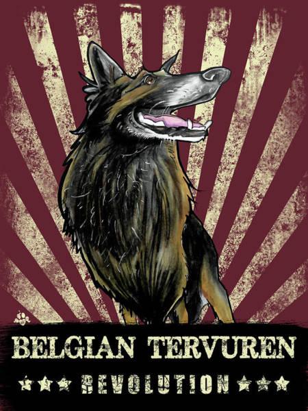 Drawing - Belgian Tervuren Revolution by John LaFree