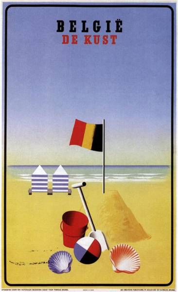 Belgium Mixed Media - Belgie De Kust - Belgium The Coast - Retro Travel Poster - Vintage Poster by Studio Grafiikka