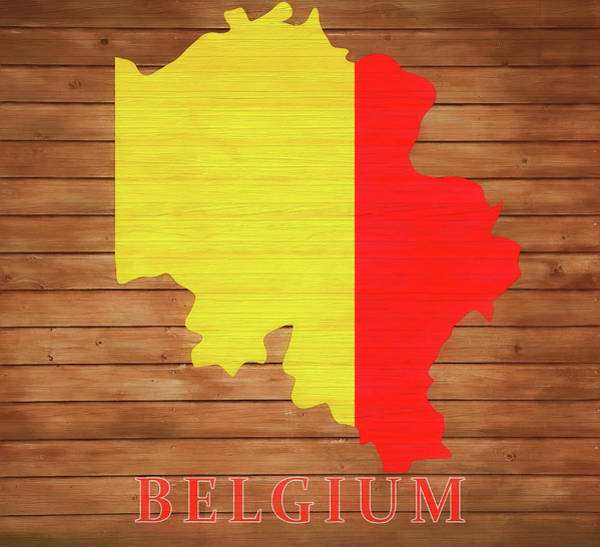 Belgium Mixed Media - Belgium Rustic Map On Wood by Dan Sproul