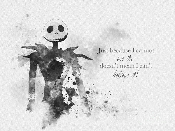 Tim Burton Wall Art - Mixed Media - Believe Black And White by My Inspiration