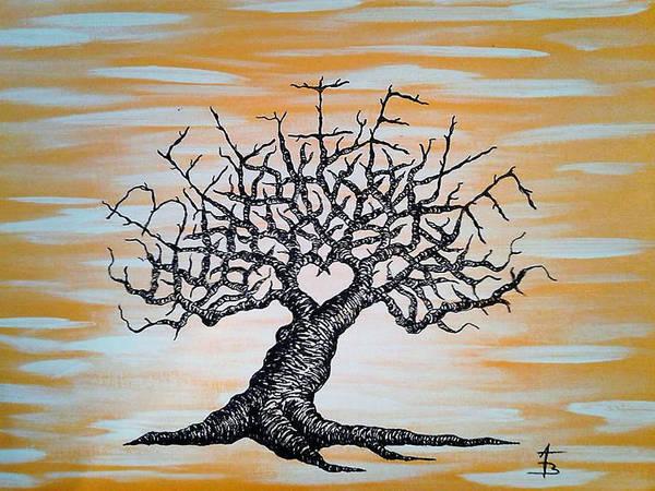 Drawing - Believe Love Tree by Aaron Bombalicki