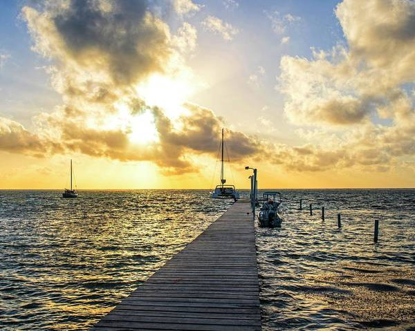 Ambergris Caye Photograph - Belize Sunrise Pier Ambergris Caye San Pedro by Toby McGuire