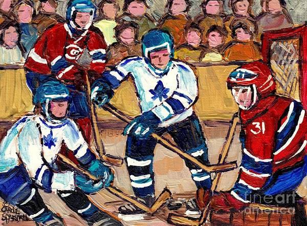 Painting - Bell Center Hockey Art Goalie Carey Price Makes A Save Original 6 Teams Habs Vs Leafs Carole Spandau by Carole Spandau