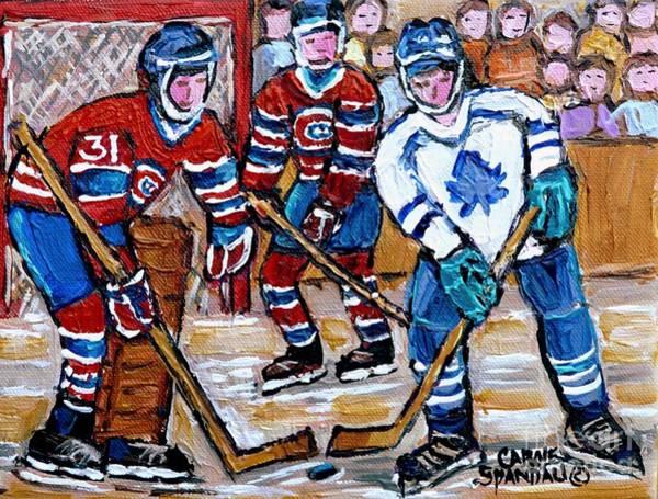 Painting - Bell Center Hockey Painting Carey Price Goalie Original 6  Habs Vs Leafs Hockey Art Carole Spandau by Carole Spandau