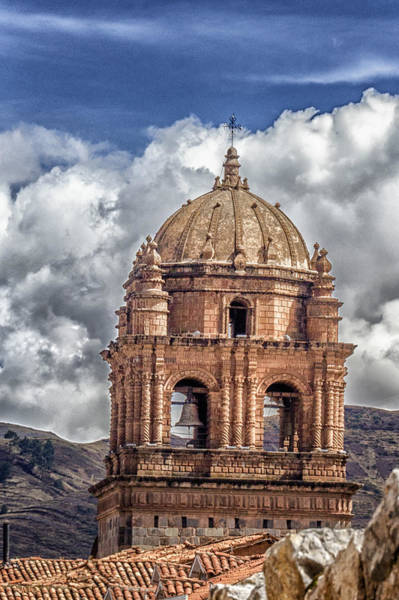 Montain Photograph - Bell Tower Dome - La Merced Convent - Cusco Peru by Jon Berghoff
