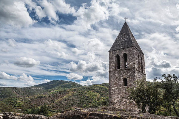 Photograph - Bell Tower Of The Old Church, Olargues France by Maria Heyens
