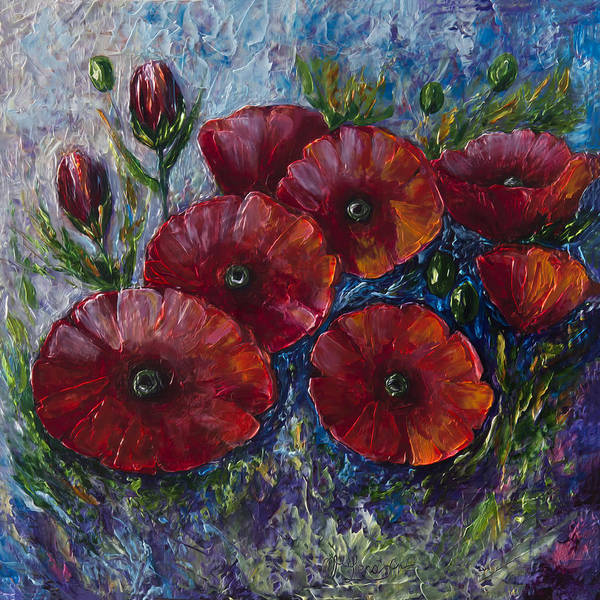 Painting - Bella Fresca Poppies  by OLena Art - Lena Owens