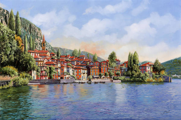 Lake Como Painting - Bellagio A Colori by Guido Borelli