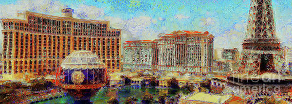 Photograph - Bellagio Casino From Paris Hotel And Casino On The Las Vegas Strip Las Vegas Nevada 20180518 Pano by Wingsdomain Art and Photography