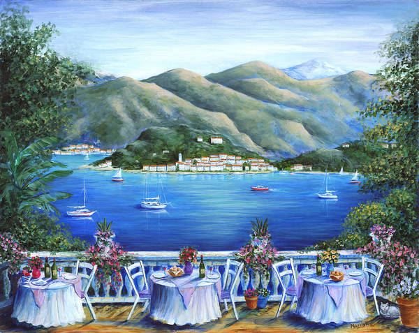 Mountain Lake Painting - Bellagio From The Cafe by Marilyn Dunlap