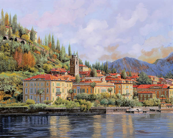 Lake Como Painting - Bellagio by Guido Borelli
