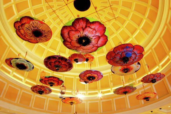 Photograph - Bellagio Hotel Atrium Umbrellas by Marilyn Hunt