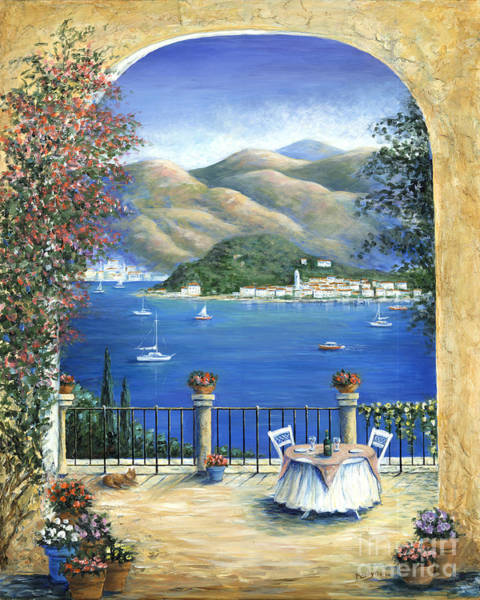 Mountain Lake Painting - Bellagio Lake Como From The Terrace by Marilyn Dunlap