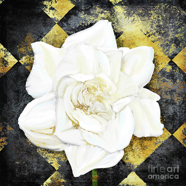 Wall Art - Painting - Belle, White Gardenia Blooms Amidst French Art Deco Grunge by Tina Lavoie