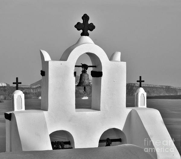 Photograph - Bells In Oia Bw by Jeremy Hayden
