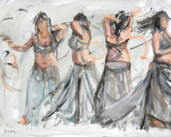 Belly Dancing Painting - Belly Dancer In Motion by Donna Tuten