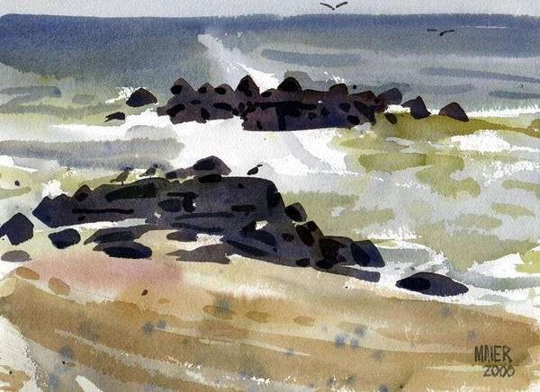 Jetty Painting - Belmar Jetty One by Donald Maier