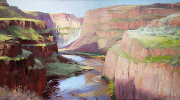 Waterway Painting - Below Palouse Falls by Steve Henderson