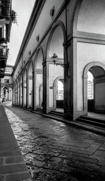 Wall Art - Photograph - Below The Visari Corridor Florence Italy Bw by Joan Carroll