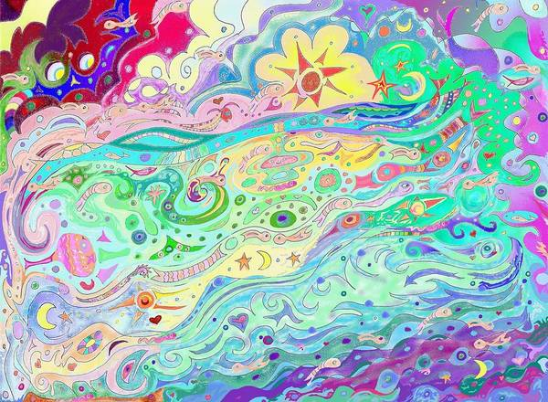Drawing - Beltaine Seashore Dreaming by Julia Woodman