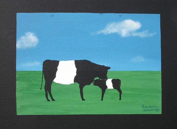 Wall Art - Painting - Belted Galloway Cow And Calf by Candace Shockley