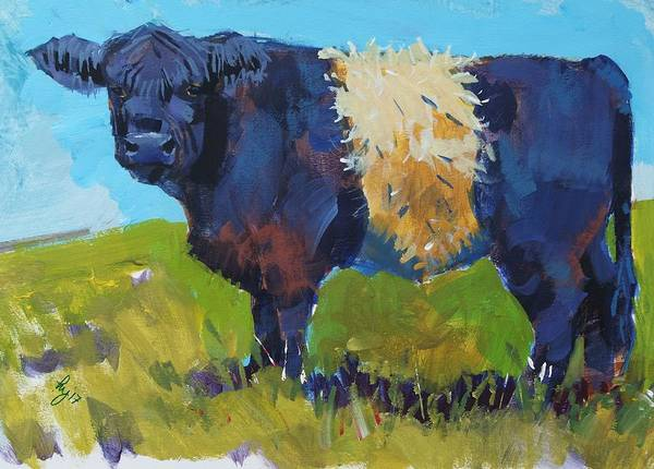 Painting - Belted Galloway Cow - The Blue Beltie by Mike Jory