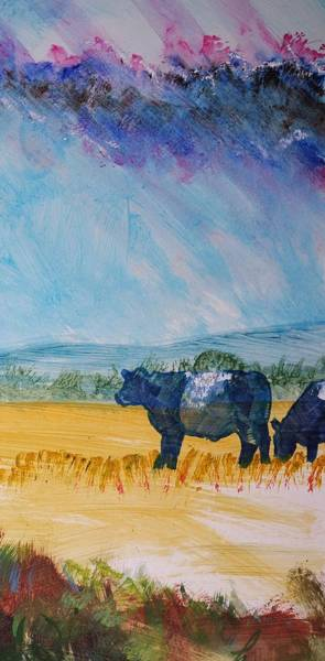 Painting - Belted Galloway Cows Narrow Painting by Mike Jory